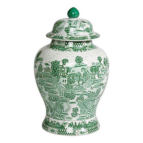 Ethan Allen Large Porcelain Ginger Jar, (Green Porcelain Jar)
