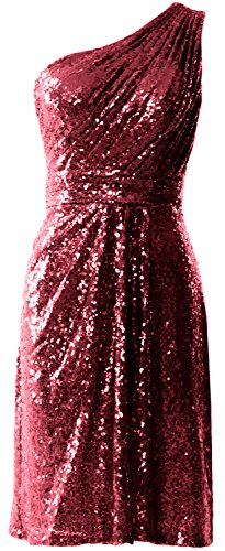 MACloth Women One Shoulder Sequin Cocktail Dress Short Bridesmaid Fomral Gown Wine Red