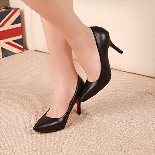 Womens Shoes OL Noir Pompes Ladies Xianshu Toe Talon Point haut Party Court d1ngfWT
