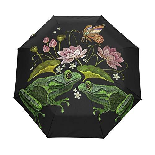 - Auto Open Close Travel Umbrellas Black Frogs Insect Lotus Flowers 3 Folds Windproof UV Automatic Umbrella