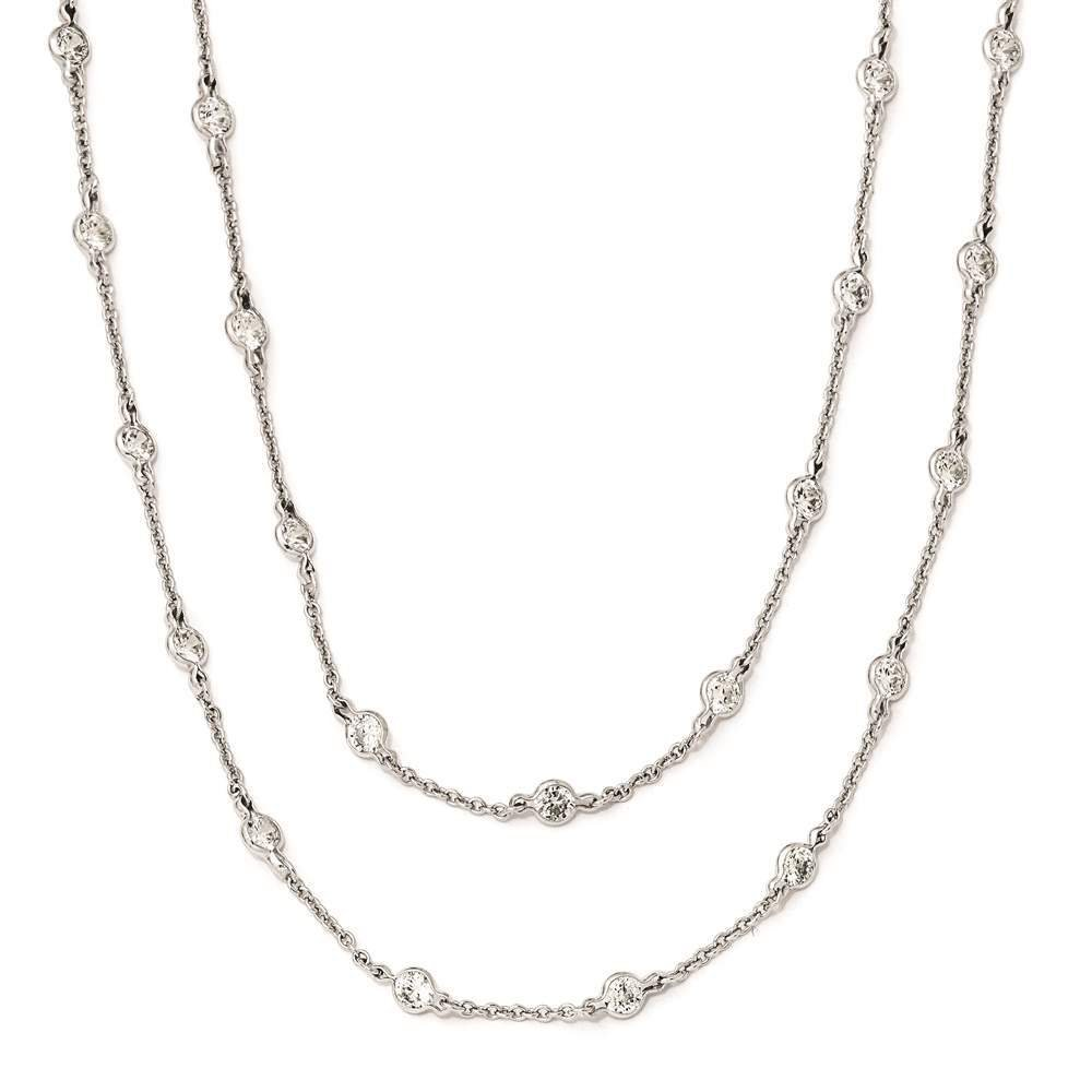 Cheryl M 925 Sterling Silver Rhodium Plated Clear CZ Fancy Necklace 36