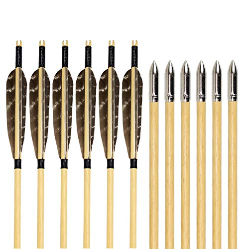SinoArt Archery Wooden Arrows Feather Fletching with Field Points for Recurve & Longbow