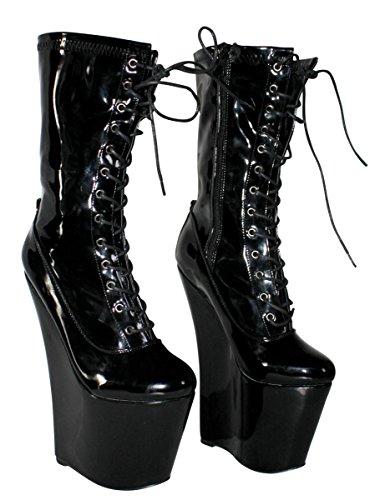 Erogance Lack Extrem Plateau High Heels Stiefeletten - Botas de Material Sintético para mujer 41 Negro - negro