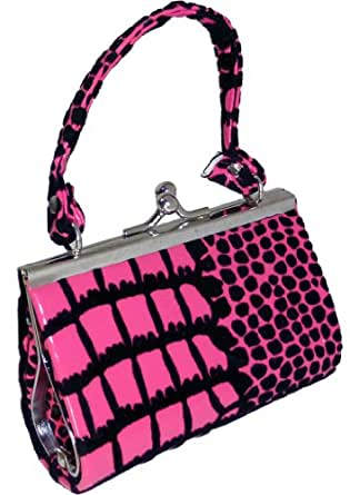 Nice Shades Kids Girls Coin Purse Lipstick Case Clip Gator Croco (Many Colors). Pink
