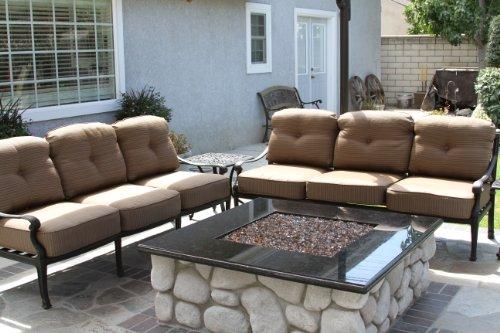 - Heritage Outdoor Living Flamingo Cast Aluminum 3pc Outdoor Patio Sofa Set with 21