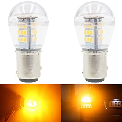 AMAZENAR 2-Pack 10-24V DC Extremely Bright Yellow/Amber 1157 2057 2357 7528 BAY15D P21/5W 33SMD LED Bulbs Replacement for Halogen lamp Blinker Turn Signal Lights Parking Light: Automotive