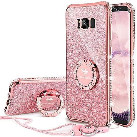 d4ae1346f82 OCYCLONE Fundas para Samsung S8 Plus,Purpurina Ultra Slim Soft TPU Fundas  Movil con Brillo Glitter Dimante Anillo de Teléfono Protectora Samsung  Galaxy S8 ...