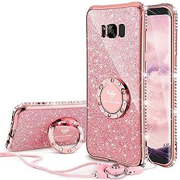 OCYCLONE Fundas para Samsung S8 Plus,Purpurina Ultra Slim Soft TPU Fundas Movil con Brillo Glitter Dimante Anillo de Teléfono Protectora Samsung ...