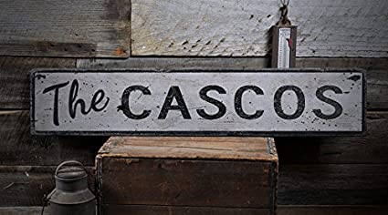 The CASCOS - Custom CASCO Last Name Distressed Wooden Sign - 5.5 x 24 Inches