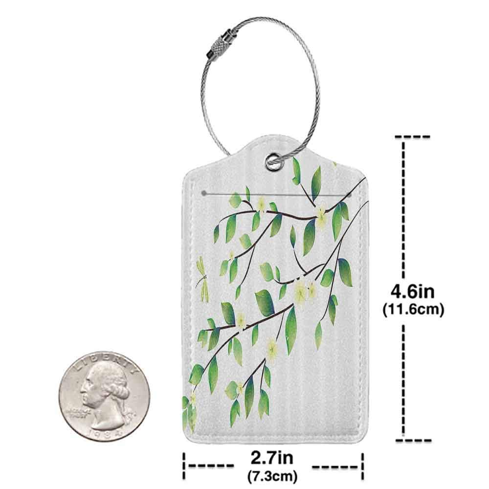 Personalized luggage tag Country Decor Leaves With Little Dragonflies And Jasmine Environmental Botanical Ecology Illustration Easy to carry Green White W2.7 x L4.6
