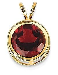 IceCarats 14k Yellow Gold 8mm Red Garnet Bezel Pendant Charm Necklace Gemstone
