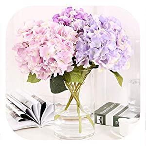 Memoirs- 5 Heads Silk Hydrangea Artificial Flower Bouquet Real Touch Fake Flower for DIY Home Wedding New Year Decoration 84