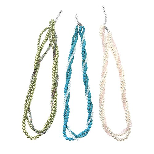 Lova Jewelry Adjustable Pink Peach/Turquoise Blue/Sage Green Pearl Twisted Necklaces - Set of Three (06 Peach Blossom)