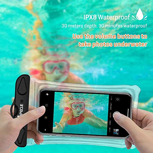 iSPECLE Waterproof Phone Pouch, 4 Pack Clear Waterproof Case Underwater Phone Pouch Bag Floating for Mobile Phone Galaxy Google Pixel LG HTC Black White Green Orange up to 6.5\