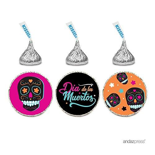 Andaz Press Chocolate Drop Labels Trio, Fits Hershey's Kisses Party Favors, Dia de los Muertos Skulls, 216-Pack, Envelope Seals Stickers