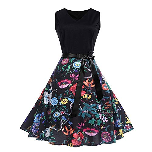 Hot Sale Women Evening Party Dress DEATU Ladies Vintage Pretty Printing Sleeveless V Neck Prom Swing Dress with Belt(Multicolor,XXL) for $<!--$5.40-->