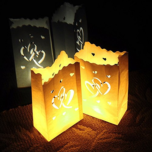 Joinwin® Pack of 30 New White Luminary Bags - Interlocking Hearts Design - Wedding, Reception, Party and Event Decor - Flame Resistant Paper - Luminaria