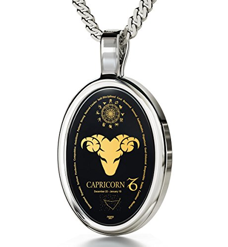 14k White Gold Zodiac Pendant Capricorn Necklace 24k Gold on Onyx Stone, 18'' 925 Sterling Silver Chain by Nano Jewelry