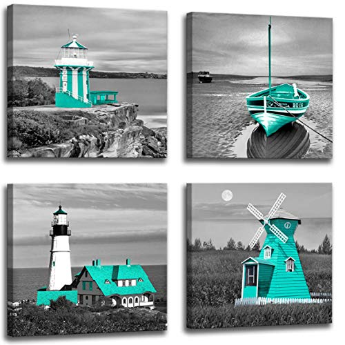 Black and White Beach Wall Art Seascape Blue Green Lighthouse Windmill Boat Landscape Wall Painting Nautical Art Poster Canvas Printing 4 Panel Set Bathroom Bedroom Hotel Cafe Beach Wall Decoration