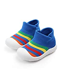 AiYannis6. Baby Toddler Sock Shoes,Stretch Knit Rainbow Sneakers Kids Slippers Unisex Speed Trainer Runner