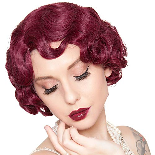Rockstar Wigs Burgundy Finger Wave Flapper Wig, Halloween Costumes Accessory, for Adults, One Size ()