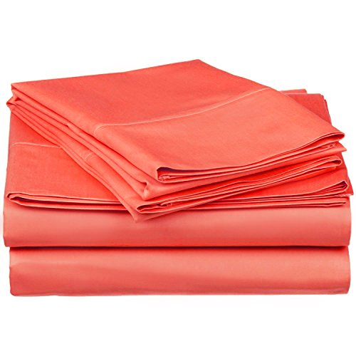 Superior 100% Premium Combed Cotton, 300 Thread Count 4-Piece Bed Sheet Set, Single Ply Cotton, Deep Pocket Fitted Sheets, Soft and Luxurious Bedding Sets - Queen, Coral