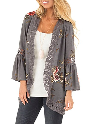 Basic Faith Women's S-3XL Floral Print Kimono Tops Cover Up Cardigans Grey M