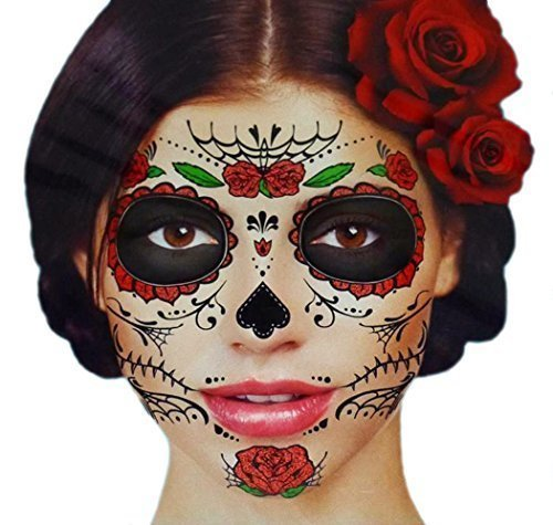 Glitter Red Roses Day of the Dead Sugar Skull Temporary Face Tattoo Kit - Pack of 2 -