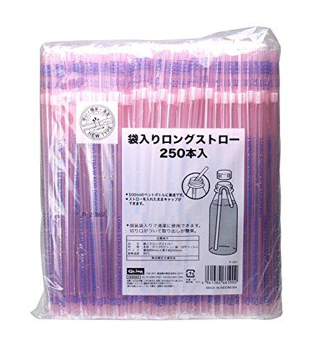 ストリックスデザインロングストロー ピンク 口径6mm 長さ25cm 個包装 切り口付き  250本入の商品画像