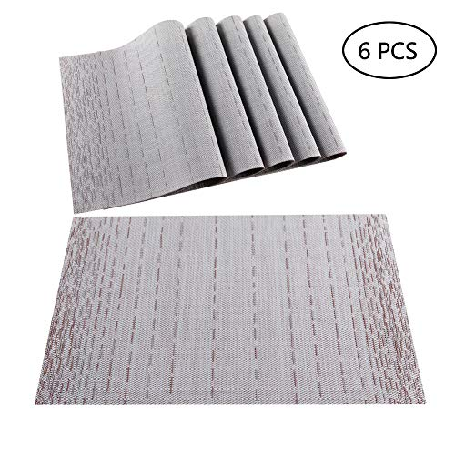 (PABUSIOR Placemat Table Mats Set of 6 Washable, Woven Vinyl Placemats for Dining Table Easy Clean, Kitchen Place Mats Sets Wipeable 18
