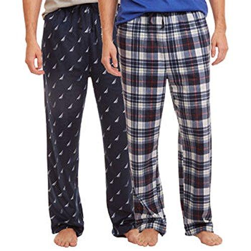 Nautica Men's 2-Pack Pajama Navy & White/Blue Plaid, L  ()