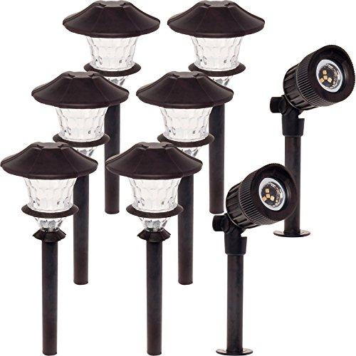 Low Watt Kit (8 Pack Paradise Path Light & Spotlight Kit w/ 24 W Transformer (Oiled Bronze))