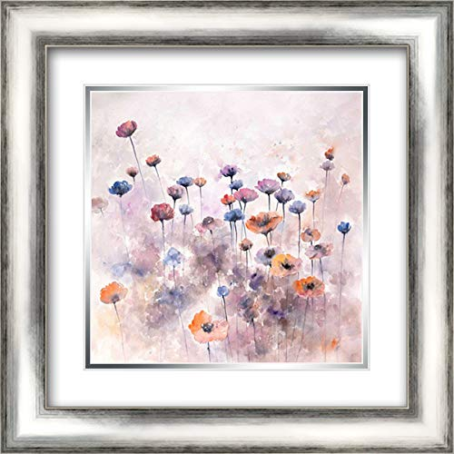 Small Wild Flowers 20x20 Silver Contemporary Wood Framed and Double Matted Art Print by Atelier B Art Studio