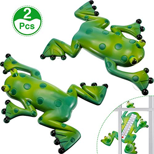 BBTO 2 Pack Frog Shape Thermometer Decorative Frog Window Thermometer Indoor Outdoor Garden Thermometer with Suction Cups