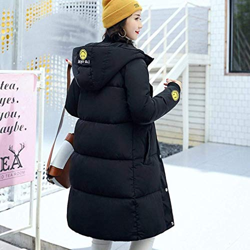 Elegante Abrigos Abrigo Moda Algodon Larga Schwarz Mujer Manga Largos Ropa De Encapuchado Parkas Cálido Simplemente Casuales Áspera Transición 1rt6qr