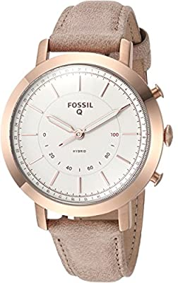Fossil Q Women's Neely Stainless Steel and Leather Hybrid Smartwatch, Color: Rose Gold-Tone, Beige (Model: FTW5007) from Fossil Connected Watches Child Code