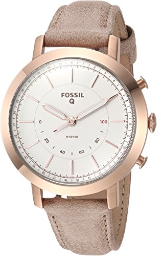 Fossil Q Women's Neely Stainless Steel and Leather Hybrid Smartwatch, Color: Rose Gold-Tone, Beige (Model: FTW5007)