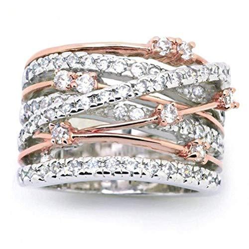 Sinwo Women Elegant Exquisite Diamond Cylindrical Rings Fine Ring Engagement Ring Gift (7, Rose Gold)