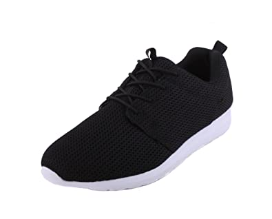 Mens Running Trainers Casual Lace Up Shoes Roshe Light Weight Gym Sports Black/Navy/Grey