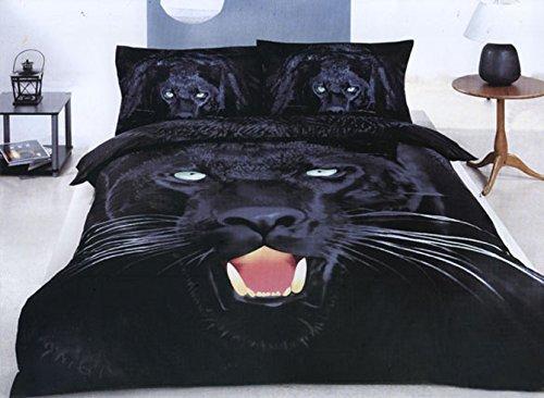 Beddinginn 3D Leopard Bedding Cotton 4-Piece Black Bedding Sets Full Size Duvet Cover Sets No Comforter(Full) by Beddinginn