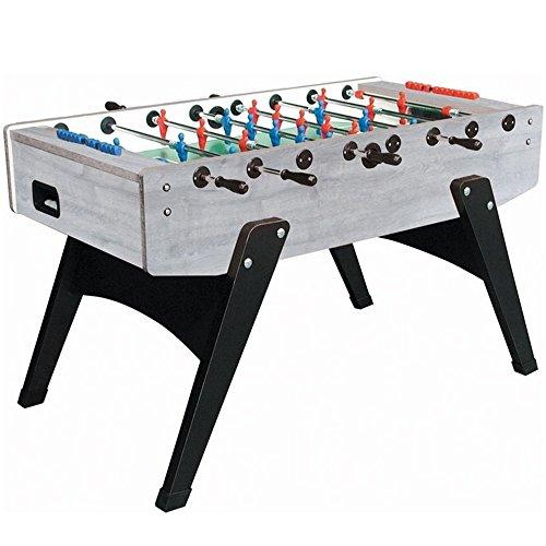 Garlando G-2000 Grey Oak Foosball Table with Telescopic Steel Bars, Ergonomic Handles, Abacus Scorers and 10 Standard Balls - Italian Foosball Table