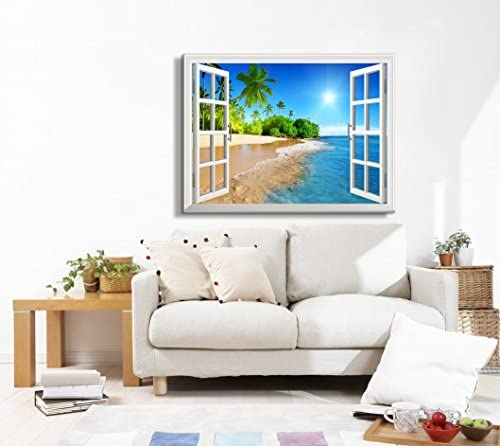 Print Window Frame Style Wall Decor Beautiful Tropical Beach with White Sand Clear Sea and Palm Trees Under Blue Sunny Sky