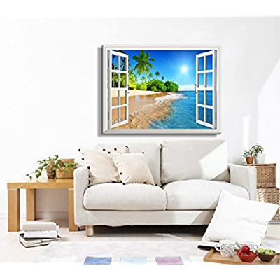 Canvas Print Wall Art - Window Frame Style Wall Art - Beautiful Tropical Beach with White Sand,Clear Sea and Palm Trees Under Blue Sunny Sky - 32