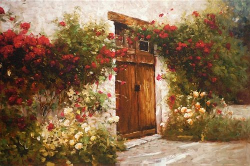 North American Art Red Roses and Old Stone Canvas Giclee Framed Art ()