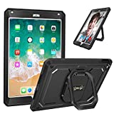 Fintie iPad 9.7 Inch 2018/2017 Case - [Tuatara Magic Ring] 360 Rotating Multi-Functional Grip Stand Shockproof Fully-Body Rugged Cover with Built-in Screen Protector, Also Fit iPad Air 2, Black