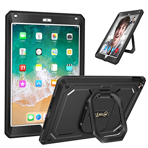 Fintie iPad 9.7 Inch 2018/2017 Case - [Tuatara Magic Ring] 360 Rotating Multi-Functional Grip Stand Shockproof Fully-Body Rugged Cover with Built-in Screen Protector