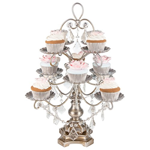 Madeleine Collection' 12 Piece Dessert Cupcake Stand Display Tower with Crystal Dangles - Crystal Dessert