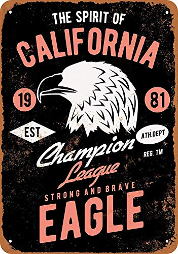 QDTrade Vintage Look Tin Metal Sign 12 x 16 inch - The Spirit of California Eagle