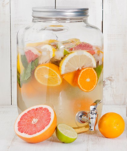 Gallon Glass Single Mason Jar Beverage Drink Dispenser