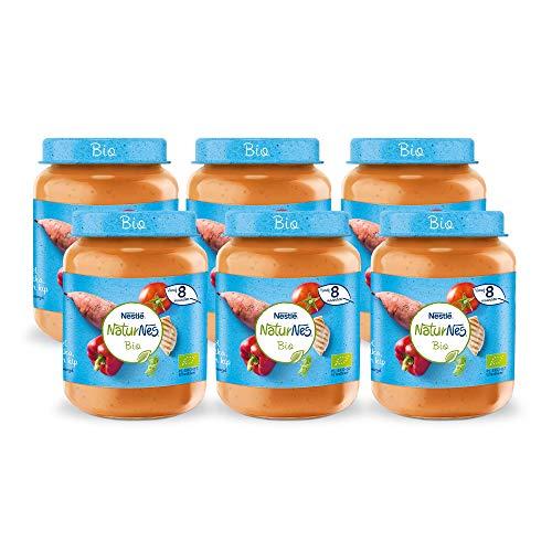 NaturNes Bio Zoete Aardappel Paprika Tomaat Kip – babyvoeding biologisch – vanaf 8 maanden – 6 stuks